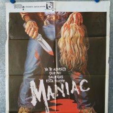 Cine: MANIAC. JOE SPINELL CAROLINE MUNRO, RENÉ CARDONA. AÑO 1981 POSTER ORIGINAL. Lote 177297379