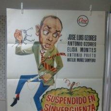 Cine: CARTEL ORIGINAL DE CINE ESTRENO SUSPENDIDO EN SINVERGUENZA (1962) J L OZORES, A OZORES,M OZORES JANO. Lote 177699133