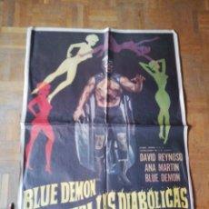 Cine: CARTEL MEXICANO ORIGINAL BLUE DEMON CONTRA LAS DIABÓLICAS. . Lote 177981524