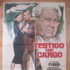 Cine: CARTEL CINE, TESTIGO DE CARGO, TYRONE POWER, MARLENE DIETRICH, JANO, 1969, C754. Lote 219974105