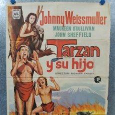 Cine: TARZÁN Y SU HIJO. JOHNNY WEISSMULLER, MAUREEN O'SULLIVAN AÑO 1972. POSTER ORIGINAL.. Lote 178595083