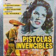 Cine: PISTOLAS INVENCIBLES. ELVIRA QUINTANA, ARMANDO SILVESTRE, AÑO 1962. POSTER ORIGINAL. Lote 178603385