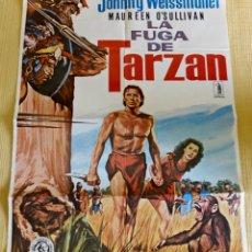 Cine: LA FUGA DE TARZÁN - 1979 - PÓSTER / CARTEL ORIGINAL DE CINE - JOHNNY WEISSMULLER, MAUREEN O'SULLIVAN. Lote 178739745