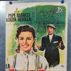 Cine: LA CHICA DEL BARRIO PEPE BLANCO, LOLITA SEVILLA, JOSÉ ISBERT. AÑO 1968. POSTER ORIGINAL. Lote 178906745