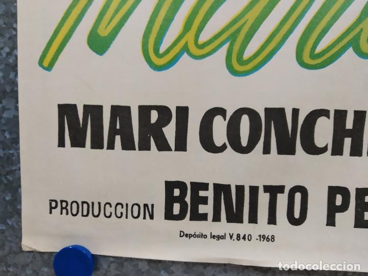 Cine: Maravilla. Carmen Morell, Pepe Blanco, María Mahor, Rafael Durán AÑO 1968. POSTER ORIGINAL - Foto 6 - 178906846