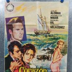 Cine: CORAZÓN SALVAJE. JULIO ALEMÁN, ANGÉLICA MARÍA, MANUEL GIL, TERE VELÁZQUEZ AÑO 1968. POSTER ORIGINAL. Lote 180010452