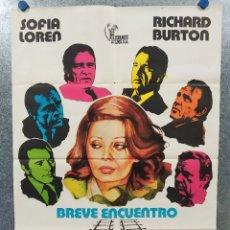 Cine: BREVE ENCUENTRO. RICHARD BURTON, SOPHIA LOREN AÑO 1975. POSTER ORIGINAL. Lote 180020467