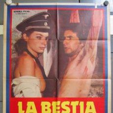 Cine: ZX12 LA BESTIA EN CALOR NAZI SEXPLOITATION POSTER ORIGINAL 70X100 ESTRENO. Lote 180026702