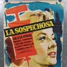 Cine: LA SOSPECHOSA. SILVIA PINAL, MIGUEL TORRUCO, VÍCTOR PARRA. AÑO 1960. POSTER ORIGINAL. Lote 180111380