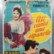 Cine: ASI CANTA UNA ESPAÑOLA. LOLITA TORRES. AÑO 1962. POSTER ORIGINAL. . Lote 180112083