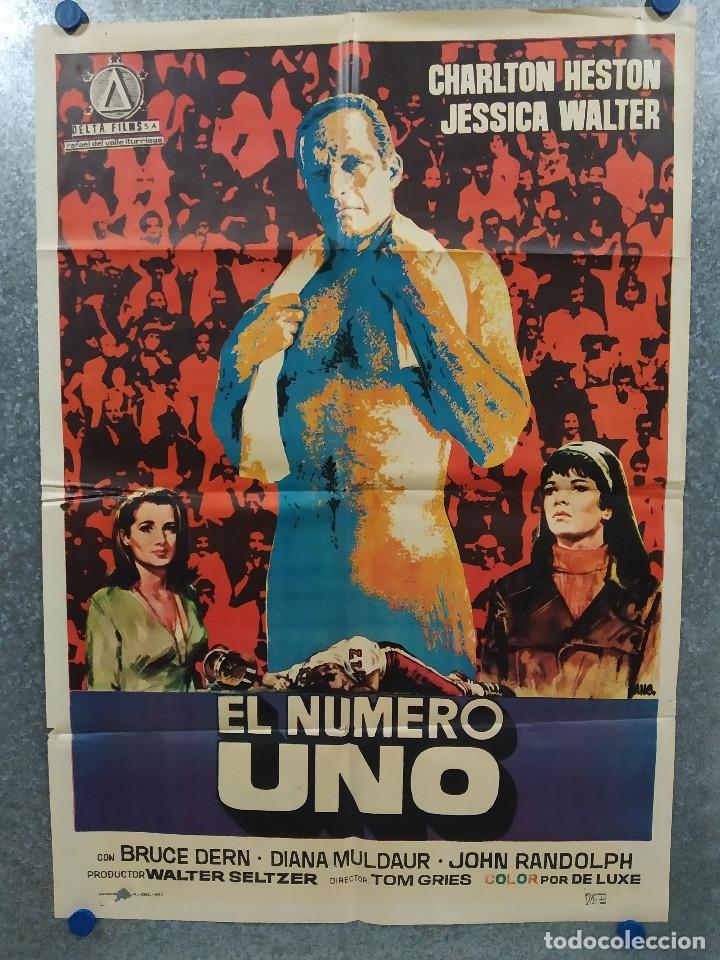 EL NÚMERO UNO. CHARLTON HESTON, JESSICA WALTER- FUTBOL AMERICANO. AÑO 1972. POSTER ORIGINAL (Cine- Posters y Carteles - Drama)