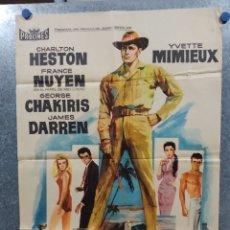Cine: EL SEÑOR DE HAWAII. CHARLTON HESTON, YVETTE MIMIEUX. AÑO 1963. POSTER ORIGINAL. Lote 180329261