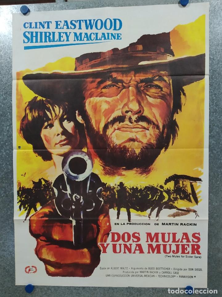 DOS MULAS Y UNA MUJER. CLINT EASTWOOD, SHIRLEY MACLAINE AÑO 1977. POSTER ORIGINAL (Cine - Posters y Carteles - Westerns)