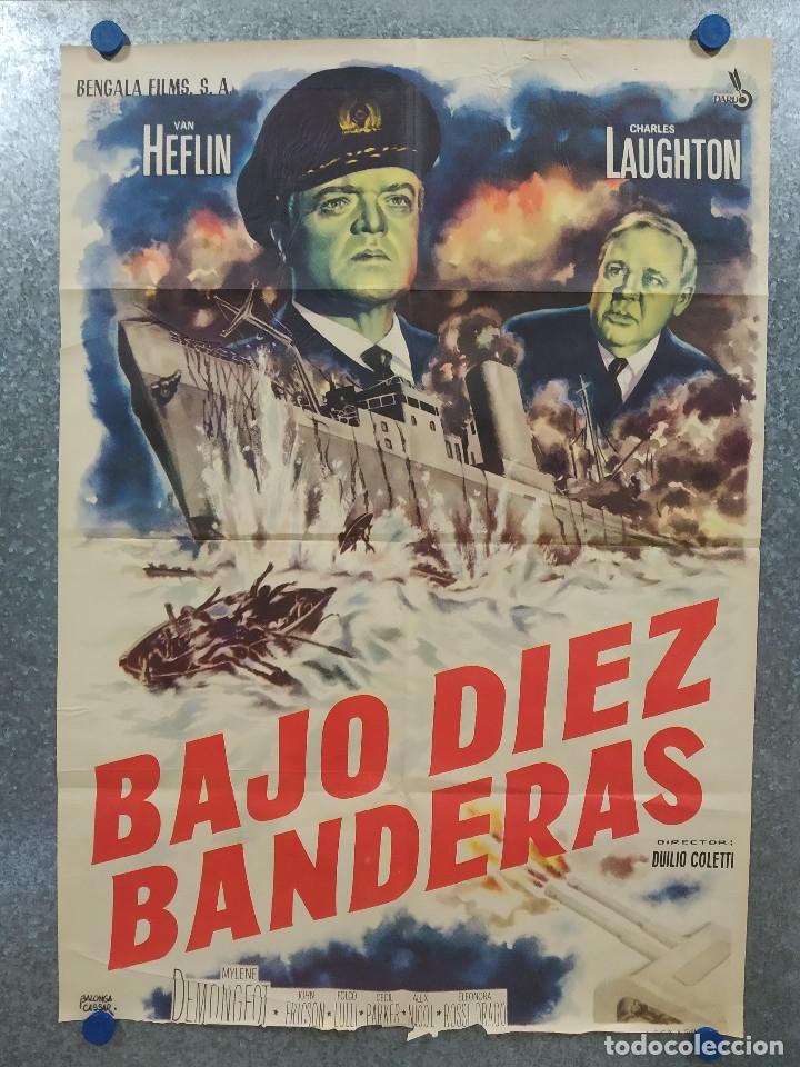BAJO DIEZ BANDERAS. VAN HEFLIN, CHARLES LAUGHTON, MYLÈNE DEMONGEOT AÑO 1959. POSTER ORIGINAL (Cine - Posters y Carteles - Bélicas)