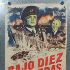 Cinema: BAJO DIEZ BANDERAS. VAN HEFLIN, CHARLES LAUGHTON, MYLÈNE DEMONGEOT AÑO 1959. POSTER ORIGINAL. Lote 180340066