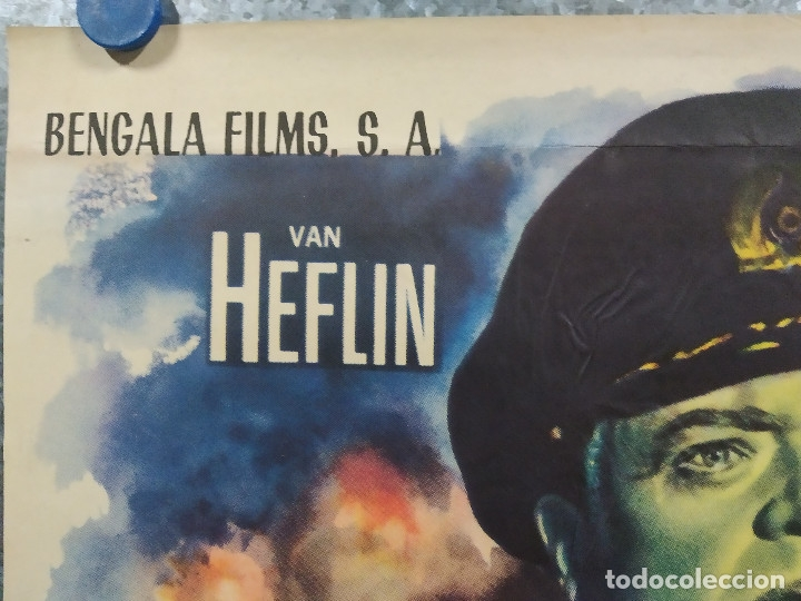 Cine: Bajo diez banderas. Van Heflin, Charles Laughton, Mylène Demongeot AÑO 1959. POSTER ORIGINAL - Foto 2 - 180340066