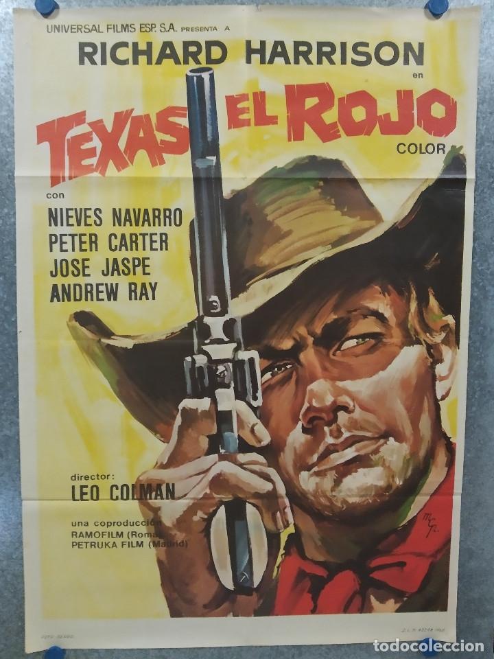 TEXAS EL ROJO. RICHARD HARRISON, PIERO LULLI, NIEVES NAVARRO AÑO 1968 POSTER ORIGINAL (Cine - Posters y Carteles - Westerns)