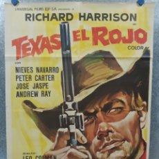 Cine: TEXAS EL ROJO. RICHARD HARRISON, PIERO LULLI, NIEVES NAVARRO AÑO 1968 POSTER ORIGINAL. Lote 180347733