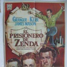 Cine: EL PRISIONERO DE ZENDA - POSTER CARTEL ORIGINAL - STEWART GRANGER DEBORAH KERR JAMES MASON. Lote 180389478