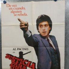 Cine: JUSTICIA PARA TODOS. AL PACINO, JACK WARDEN, JOHN FORSYTHE AÑO 1979. POSTER ORIGINAL. Lote 180456343