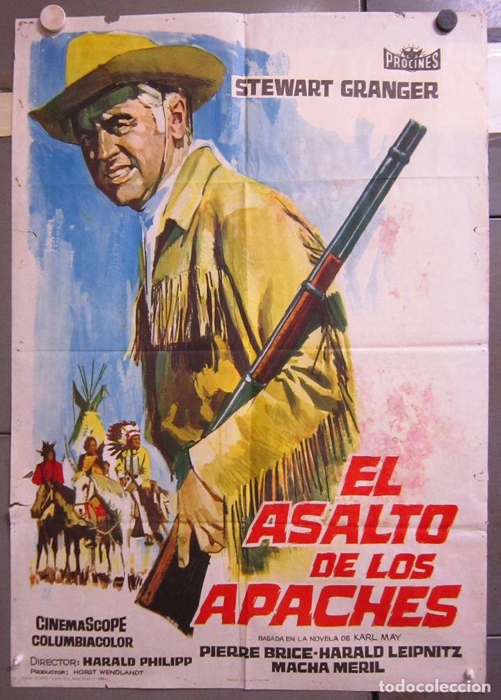 ZX97 EL ASALTO DE LOS APACHES KARL MAY PIERRE BRICE STEWART GRANGER POSTER ORIGINAL 70X100 ESTRENO (Cine - Posters y Carteles - Westerns)