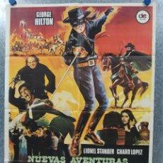 Cinéma: LAS NUEVAS AVENTURAS DEL ZORRO. GEORGE HILTON, LIONEL STANDER, CHARO LÓPE AÑO 1976. POSTER ORIGINAL. Lote 180893888