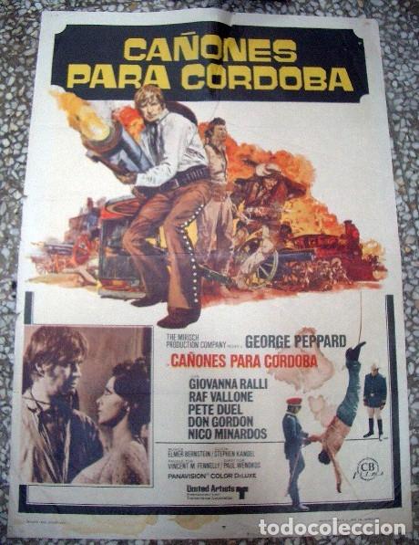PÓSTER ORIGINAL DE 100X70CM CAÑONES PARA CÓRDOBA GEORGE PEPPARD GIOVANNA (Cine - Posters y Carteles - Westerns)