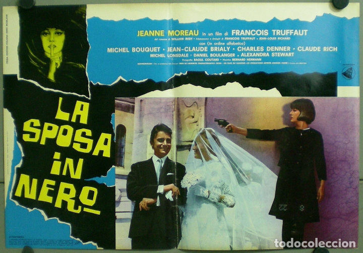 TV85D LA NOVIA VESTIA DE NEGRO TRUFFAUT JEANNE MOREAU SET 10 POSTER ORIGINAL ITALIANO 47X68 (Cine - Posters y Carteles - Suspense)