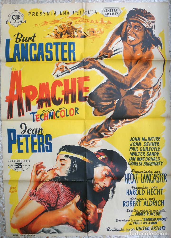 CARTEL CINE APACHE BURT LANCASTER JEAN PETERS LITOGRAFIA JOSE MARIA ORIGINAL, CC1 (Cine - Posters y Carteles - Westerns)