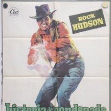Cine: RC11D HISTORIA DE UN CONDENADO ROCK HUDSON JULIA ADAMS RAOUL WALSH POSTER ORIGINAL 70X100 ESTRENO. Lote 182752538