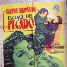 Cine: CARTEL CINE ESCLAVA DEL PECADO SILVANA PAMPANINI LITOGRAFIA ILUSTRA DOS ORIGINAL, CC1. Lote 182771975
