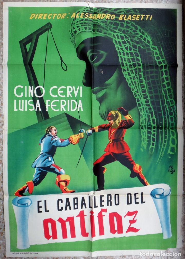 CARTEL CINE EL CABALLERO DEL ANTIFAZ LITOGRAFIA LLOAN ORIGINAL, CC1 (Cine - Posters y Carteles - Aventura)