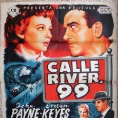Cine: CARTEL CINE CALLE RIVER 99 JOHN PAYNE LITOGRAFIA JOSE MARIA ORIGINAL, CC1. Lote 182777713