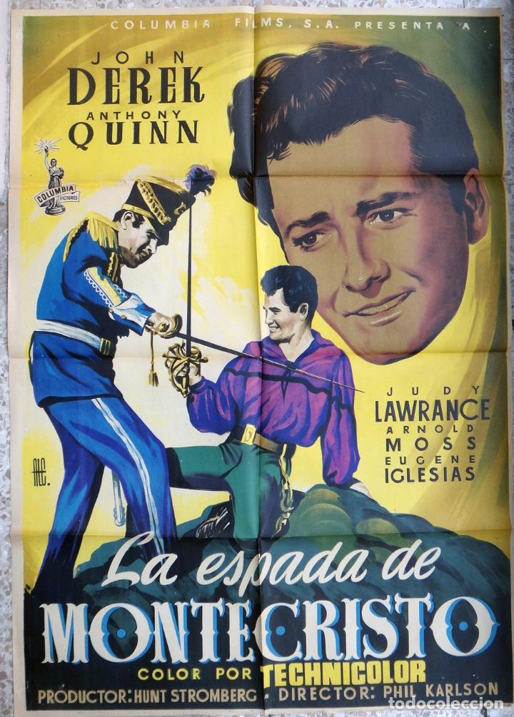 CARTEL CINE LA ESPADA DE MONTECRISTO JOHN DEREK ANTHONY QUINN LITOGRAFIA ALE ORIGINAL, CC1 (Cine - Posters y Carteles - Aventura)