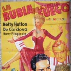 Cine: CARTEL CINE LA RUBIA DE LOS CABELLOS DE FUEGO BETTY HUTTON LITOGRAFIA SOLIGO ORIGINAL, CC1. Lote 182787661