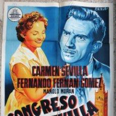 Cine: CARTEL CINE CONGRESO EN SEVILLA CARMEN SEVILLA F FERNAN GOMEZ LITOGRAFIA PERIS ARAGO ORIGINAL, CC1. Lote 182788555