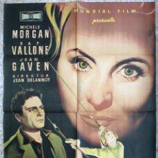 Cine: CARTEL CINE FALSA OBSESION MICHELE MORGAN RAF VALLONE LITOGRAFIA MCP ORIGINAL, CC1. Lote 182867933