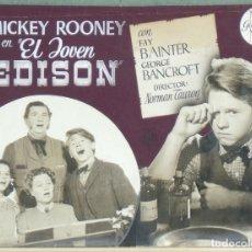 Cine: F10592D EL JOVEN EDISON MICKEY ROONEY MAQUETA FOTOMONTAJE ORIGINAL ESTRENO. Lote 182869148