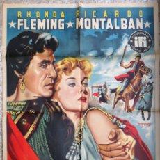 Cine: CARTEL CINE SEMIRAMIS ESCLAVA Y REINA RHONDA FLEMING RICARDO MONTALBAN LITOGRAFIA FREXE ORIGINAL,CC1. Lote 182869647