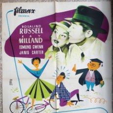 Cine: CARTEL CINE LOS ESCANDALOS DE LA PROFESORA ROSALINO RUSSELL RAY MILLAND LITOGRAFIA ALE ORIGINAL, CC1. Lote 182871222