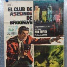 Cine: EL CLUB DE ASESINOS DE BROOKLYN. GEORGE NADER, ELGA ANDERS. AÑO 1968. POSTER ORIGINAL. Lote 182938985