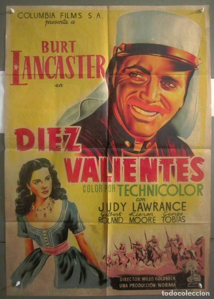 YS63D DIEZ VALIENTES BURT LANCASTER LEGION POSTER ORIGINAL 70X100 ESTRENO LITOGRAFIA (Cine - Posters y Carteles - Aventura)