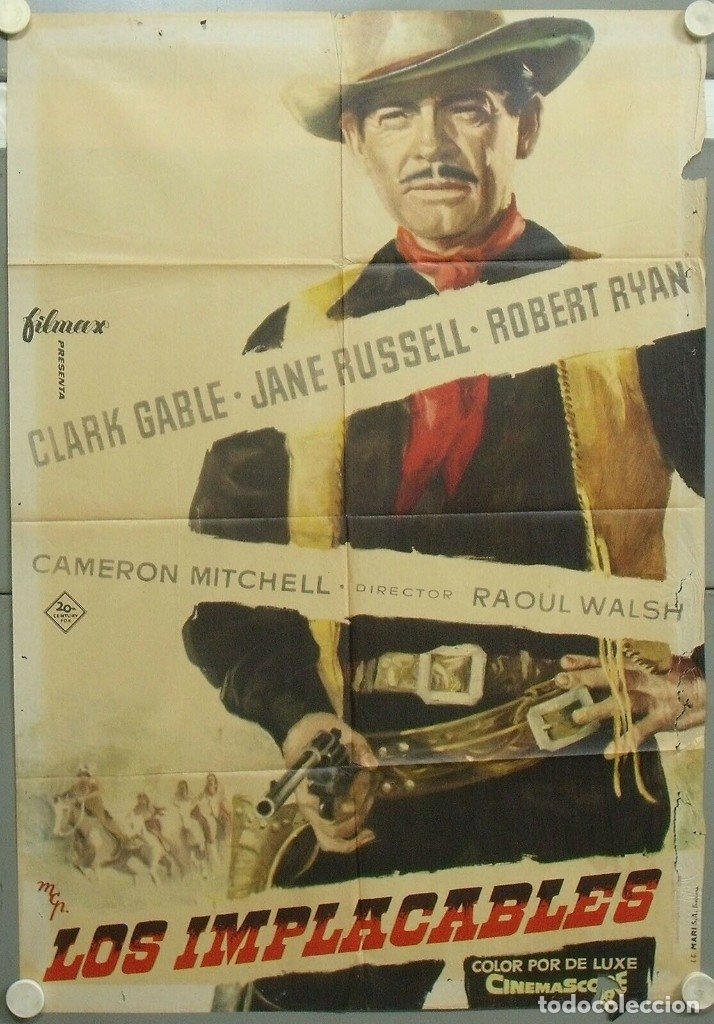 PF69D LOS IMPLACABLES JANE RUSSELL CLARK GABLE POSTER ORIGINAL 70X100 ESTRENO (Cine - Posters y Carteles - Westerns)