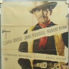 Cine: PF69D LOS IMPLACABLES JANE RUSSELL CLARK GABLE POSTER ORIGINAL 70X100 ESTRENO. Lote 182977283