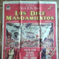 Cine: LOS DIEZ MANDAMIENTOS. CARTEL DEL ESTRENO 70X100CM. CHARLTON HESTON, YUL BRYNNER. CECIL B. DE MILLE. Lote 182977865