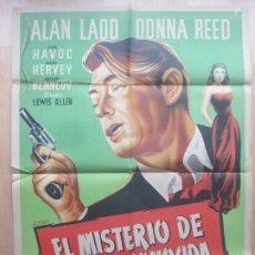 Cine: CARTEL CINE EL MISTERIO DE UNA DESCONOCIDA ALAN LADD DONNA REED ALBERICIO LITOGRAFIA C1617. Lote 182980448