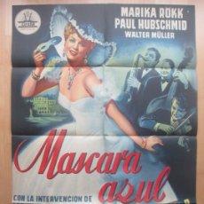 Cine: CARTEL CINE MASCARA AZUL MARIKA RÖKK PAUL HUBSCHMID LITOGRAFIA C1618. Lote 182980601