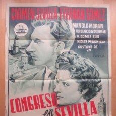 Cine: CARTEL CINE CONGRESO EN SEVILLA CARMEN SEVILLA F. FERNAN GOMEZ PERIS ARAGO LITOGRAFIA C1619. Lote 182980752
