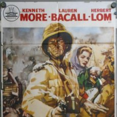 Cine: WP40D LA INDIA EN LLAMAS LAUREN BACALL KENNETH MORE POSTER ORIGINAL 70X100 ESTRENO. Lote 182982131