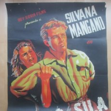 Cine: CARTEL CINE EL LOBO DE LA SILA SILVANA MANGANO AMADEO NAZZARI JUANINO LITOGRAFIA C1623. Lote 182982232